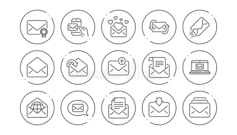 Εικονίδια γραμμών μηνυμάτων ταχυδρομείου Ενημερωτικό δελτίο, ηλεκτρονικό ταχυδρομείο, αλληλογραφία Γραμμικό σύνολο εικονιδίων διά απεικόνιση αποθεμάτων