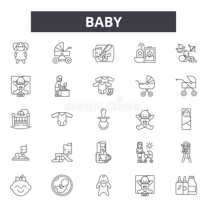 Εικονίδια γραμμών μωρών, σημάδια, διανυσματικό σύνολο, έννοια απεικόν διανυσματική απεικόνιση