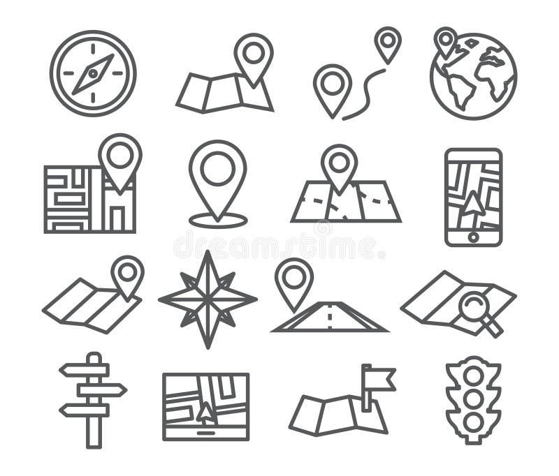 Εικονίδια γραμμών ναυσιπλοΐας και χαρτών απεικόνιση αποθεμάτων