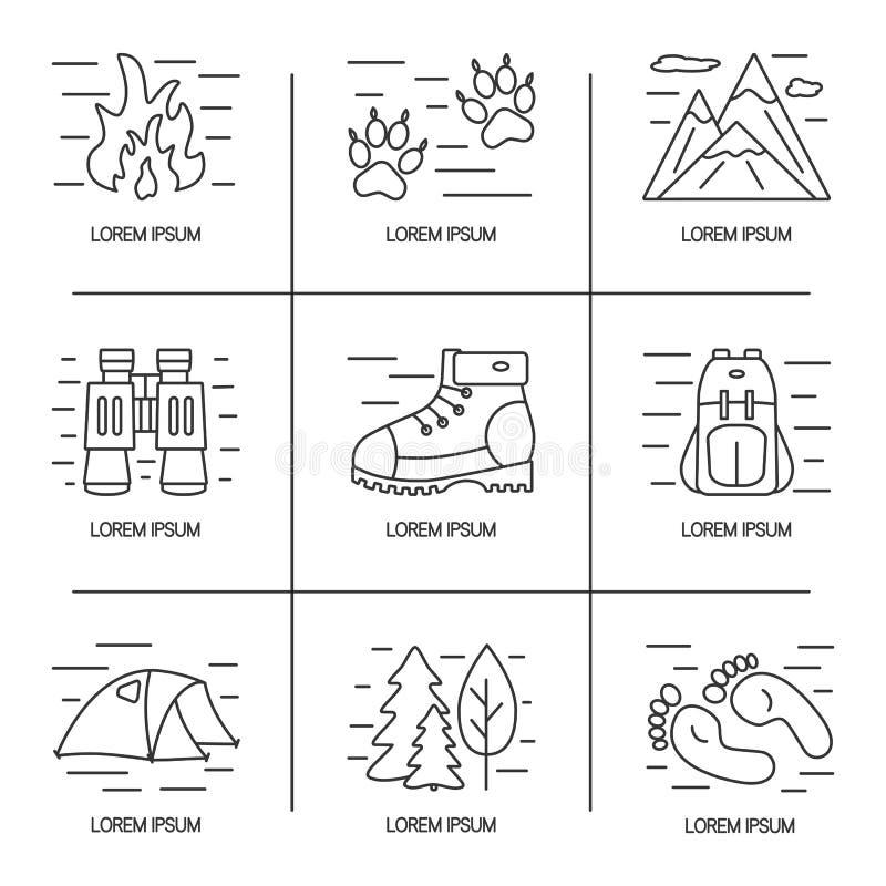 Εικονίδια γραμμών πεζοπορίας και ταξιδιού καθορισμένα Σχέδιο λογότυπων για την υπαίθρια έννοια Διανυσματική απεικόνιση με τις ανο απεικόνιση αποθεμάτων