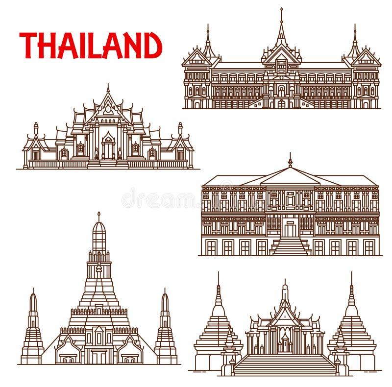 Εικονίδια γραμμών προσόψεων αρχιτεκτονικής της Ταϊλάνδης Μπανγκόκ διανυσματική απεικόνιση