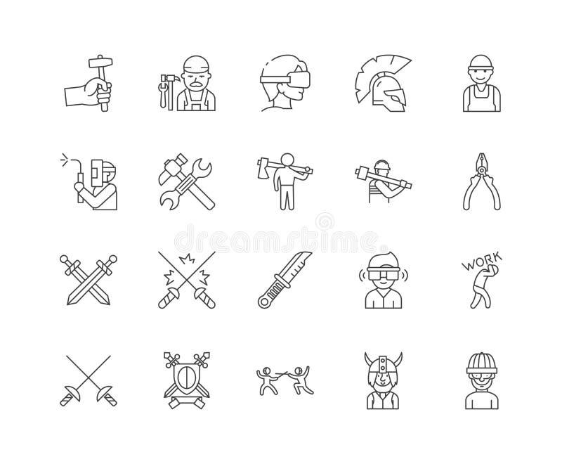 Εικονίδια γραμμών σιδηρουργών, σημάδια, διανυσματικό σύνολο, έννοια απεικόνισης περιλήψεων απεικόνιση αποθεμάτων