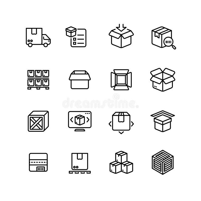 Εικονίδια γραμμών συσκευασίας προϊόντων Διανυσματικά σύμβολα περιλήψεων κιβωτίων αποθηκεύοντας απεικόνιση αποθεμάτων