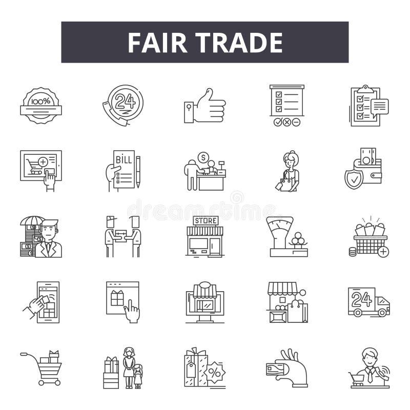 Εικονίδια γραμμών τίμιου εμπορίου για τον Ιστό και το κινητό σχέδιο Σημάδια κτυπήματος Editable Απεικονίσεις έννοιας περιλήψεων τ απεικόνιση αποθεμάτων