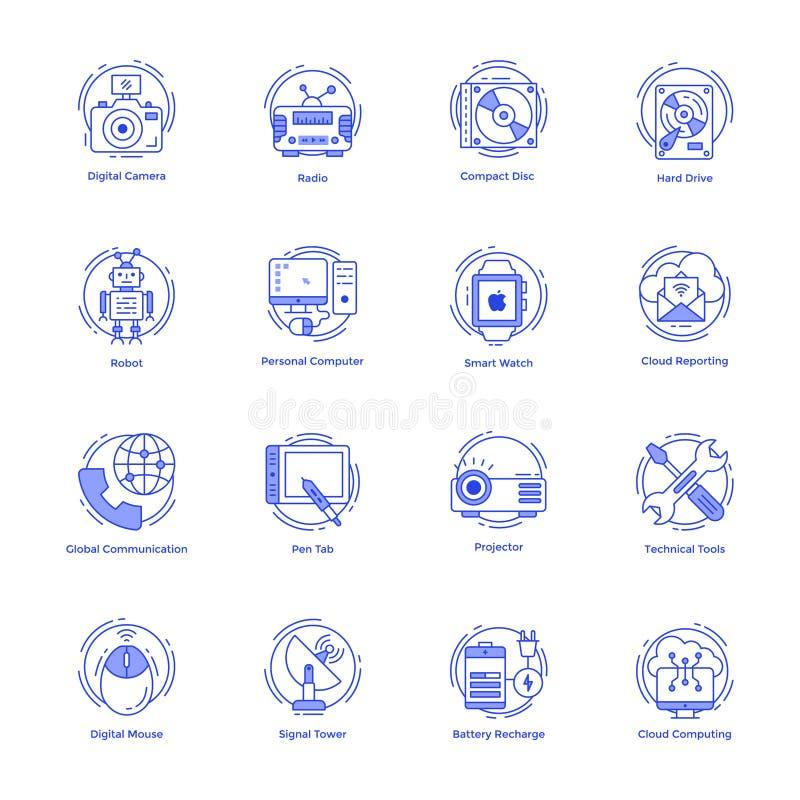 Εικονίδια γραμμών τεχνολογίας καθορισμένα διανυσματική απεικόνιση