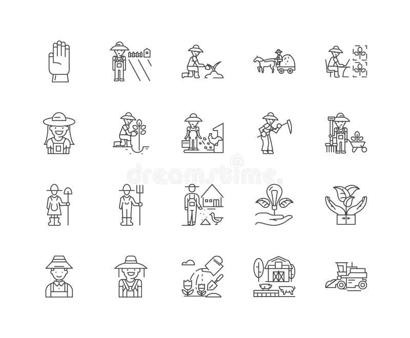 Εικονίδια γραμμών της Farmer, σημάδια, διανυσματικό σύνολο, έννοια απεικόνισης περιλήψεων ελεύθερη απεικόνιση δικαιώματος