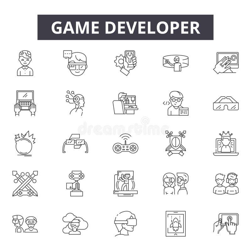 Εικονίδια γραμμών υπεύθυνων για την ανάπτυξη παιχνιδιών, σημάδια, διανυσματικό σύνολο, έννοια απεικόνισης περιλήψεων διανυσματική απεικόνιση