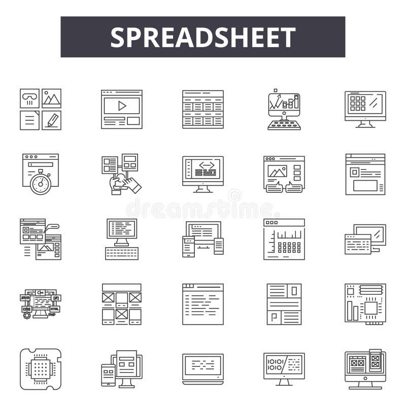 Εικονίδια γραμμών υπολογισμών με λογιστικό φύλλο (spreadsheet), σημάδια, διανυσματικό σύνολο, γραμμική έννοια, απεικόνιση περιλήψ απεικόνιση αποθεμάτων