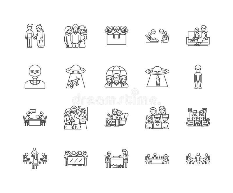 Εικονίδια γραμμών φιλοξενουμένων, σημάδια, διανυσματικό σύνολο, έννοια απεικόνισης περιλήψεων απεικόνιση αποθεμάτων
