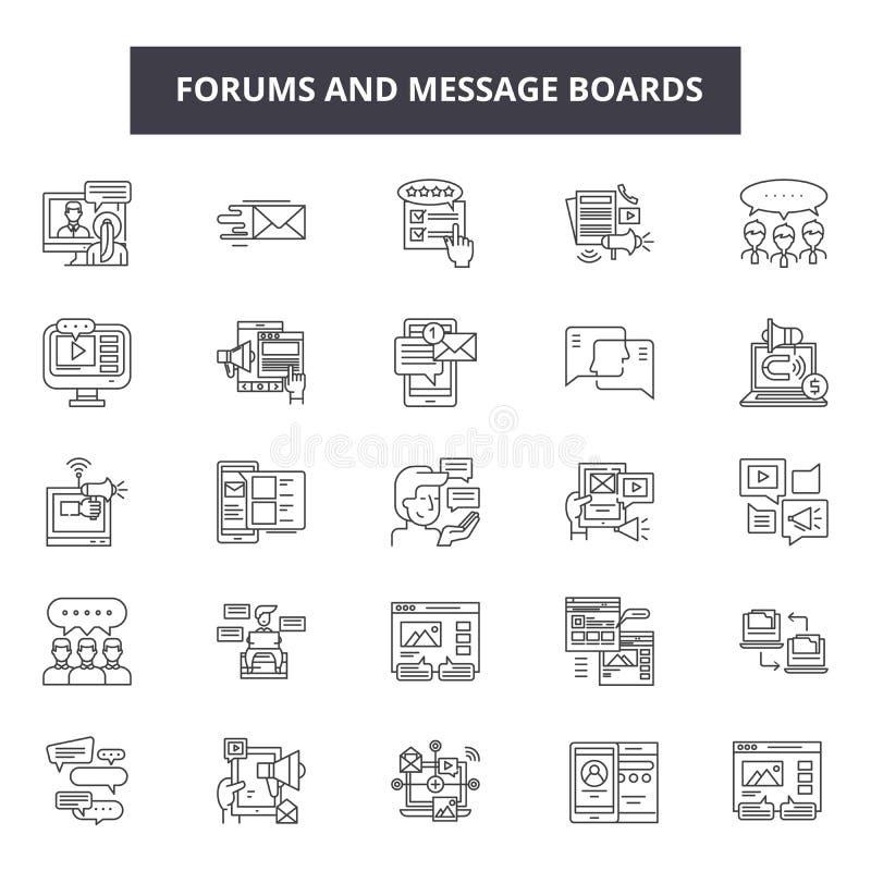 Εικονίδια γραμμών φόρουμ και πινάκων μηνυμάτων για τον Ιστό και το κινητό σχέδιο Σημάδια κτυπήματος Editable Περίληψη φόρουμ και  απεικόνιση αποθεμάτων
