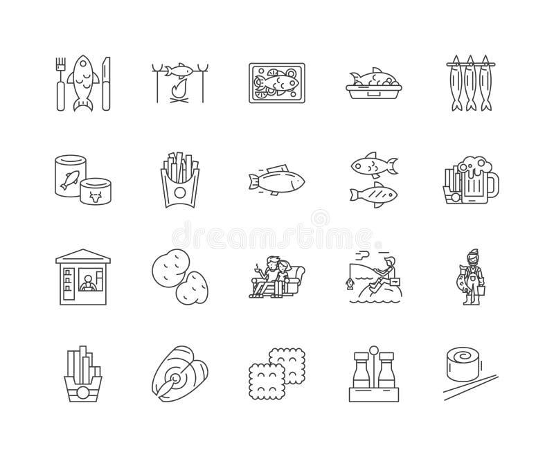 Εικονίδια γραμμών ψαριών και τσιπ, σημάδια, διανυσματικό σύνολο, έννοια απεικόνισης περιλήψεων απεικόνιση αποθεμάτων