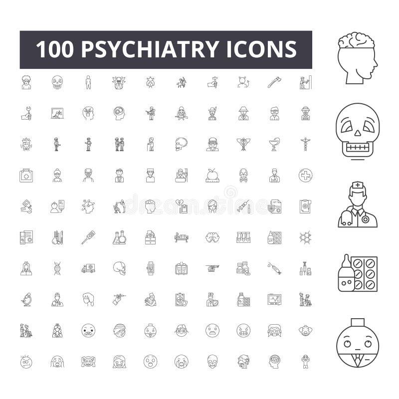 Εικονίδια γραμμών ψυχιατρικής, σημάδια, διανυσματικό σύνολο, έννοια απεικόνισης περιλήψεων διανυσματική απεικόνιση