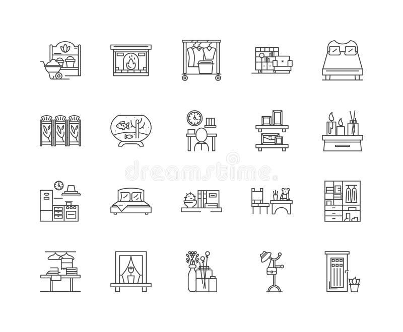 Εικονίδια γραμμών shui Feng, σημάδια, διανυσματικό σύνολο, έννοια απεικόνισης περιλήψεων ελεύθερη απεικόνιση δικαιώματος