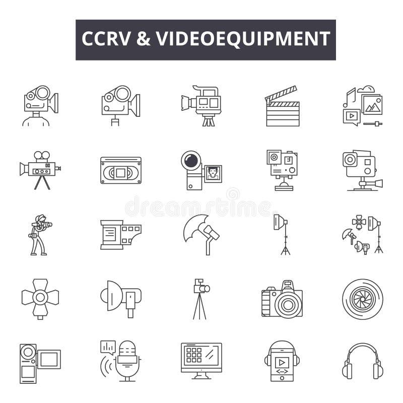 Εικονίδια γραμμών videoequipment CCTV για τον Ιστό και το κινητό σχέδιο Σημάδια κτυπήματος Editable Έννοια περιλήψεων videoequipm διανυσματική απεικόνιση
