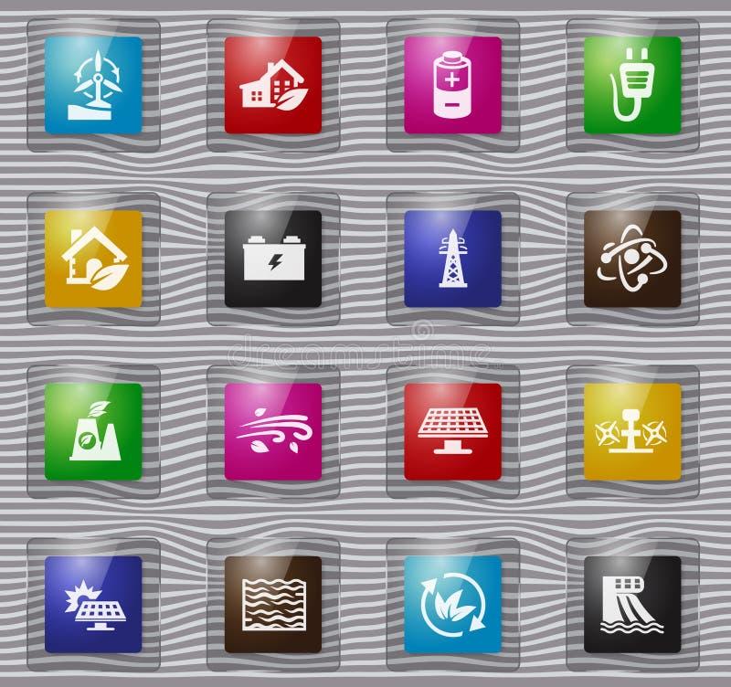 Εικονίδια γυαλιού εναλλακτικής ενέργειας καθορισμένα απεικόνιση αποθεμάτων