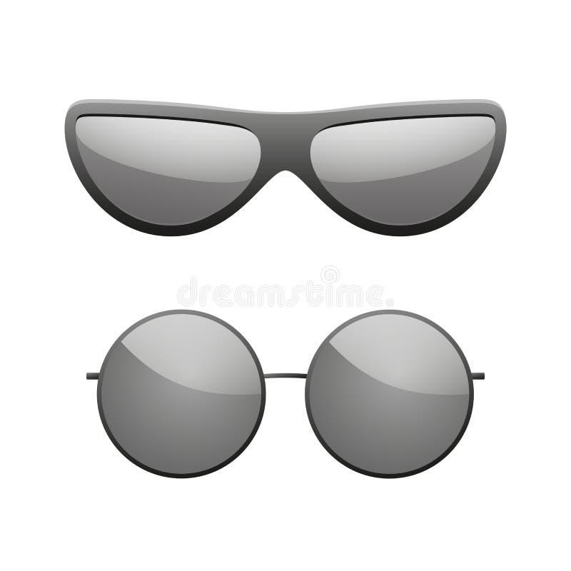 Εικονίδια γυαλιών ηλίου καθορισμένα Τα μαύρα γυαλιά ήλιων σκιαγραφιών απομόνωσαν το άσπρο υπόβαθρο Σύγχρονο σχέδιο ένδυσης Κομψότ ελεύθερη απεικόνιση δικαιώματος