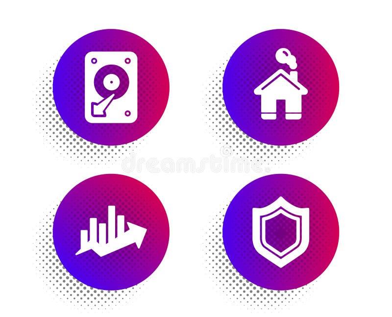Εικονίδια διαγραμμάτων Hdd, σπιτιών και αύξησης καθορισμένα Σημάδι ασφάλειας Σκληρός δίσκος, οικοδόμηση, διάγραμμα πώλησης r ελεύθερη απεικόνιση δικαιώματος