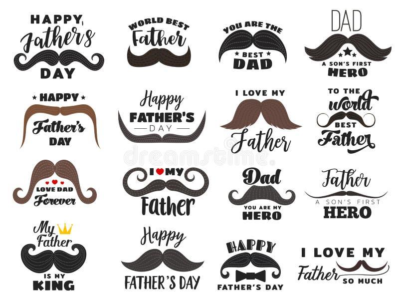 Εικονίδια διακοπών, εορτασμός ημέρας πατέρων διανυσματική απεικόνιση