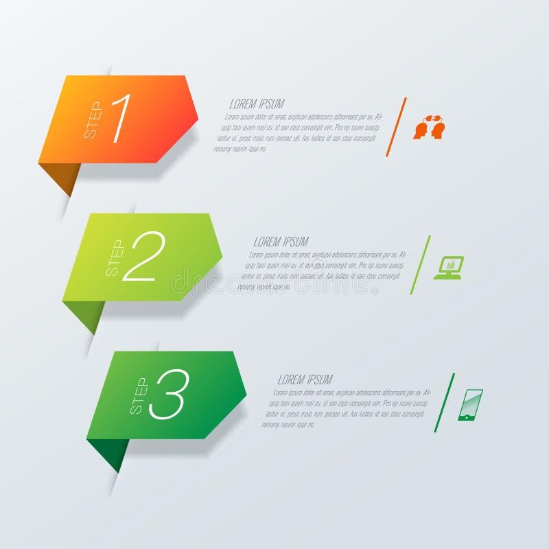 Εικονίδια διανύσματος και επιχειρήσεων σχεδίου Infographics με 3 επιλογές ελεύθερη απεικόνιση δικαιώματος