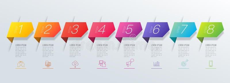 Εικονίδια διανύσματος και επιχειρήσεων σχεδίου Infographics με 8 επιλογές ελεύθερη απεικόνιση δικαιώματος