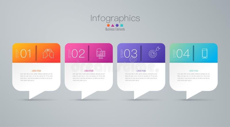 Εικονίδια διανύσματος και επιχειρήσεων σχεδίου Infographics με 4 επιλογές διανυσματική απεικόνιση