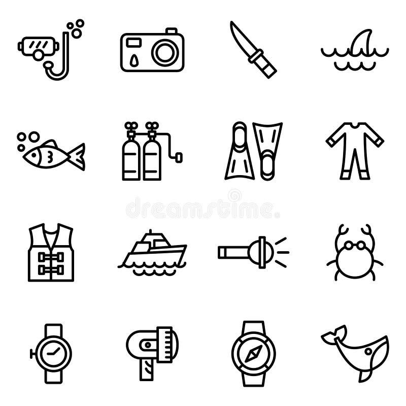 Εικονίδια δραστηριοτήτων κατάδυσης και νερού σκαφάνδρων διανυσματική απεικόνιση