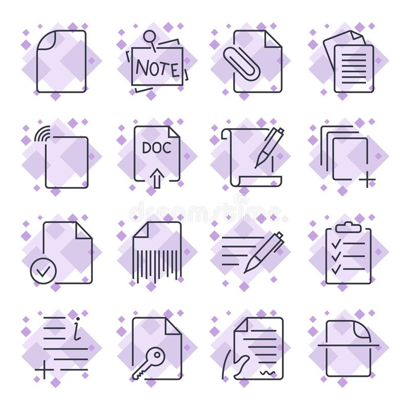 Εικονίδια εγγράφου Εικονίδια εγγράφων Σύνολο των εικονιδίων με τα διαφορετικά εικονίδια εγγράφων και εγγράφου για τις περιοχές, a απεικόνιση αποθεμάτων