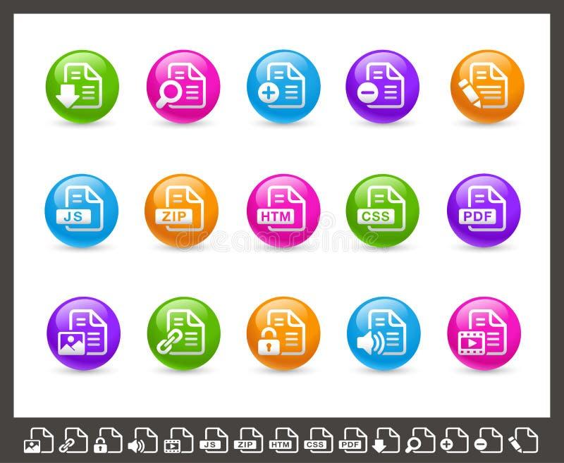 Εικονίδια εγγράφων - 1 2 σειρών ουράνιων τόξων του // απεικόνιση αποθεμάτων