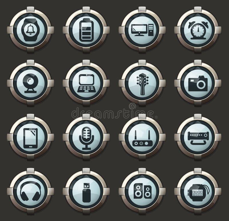 Εικονίδια εγχώριων συσκευών καθορισμένα απεικόνιση αποθεμάτων