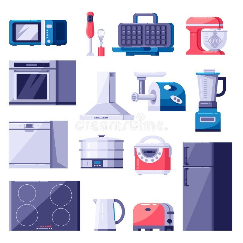 Εικονίδια εγχώριων συσκευών κουζινών και στοιχεία σχεδίου καθορισμένα Μαγειρεύοντας σύγχρονος εξοπλισμός ηλεκτρονικής Διανυσματικ απεικόνιση αποθεμάτων