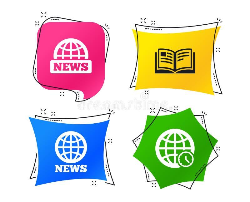 Εικονίδια ειδήσεων Σύμβολα παγκόσμιων σφαιρών Σημάδι βιβλίων διάνυσμα απεικόνιση αποθεμάτων