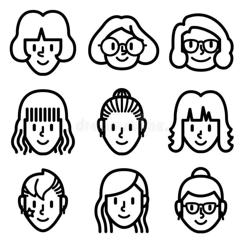 Εικονίδια ειδώλων προσώπου γυναικών και κοριτσιών ελεύθερη απεικόνιση δικαιώματος