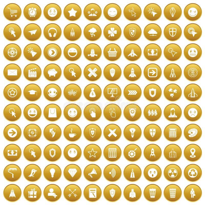 100 εικονίδια εικονογραμμάτων διεπαφών καθορισμένα χρυσά απεικόνιση αποθεμάτων