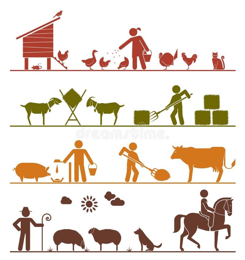 Εικονίδια εικονογραμμάτων που παρουσιάζουν τη σίτιση των κατοικίδιων ζώων στο FA απεικόνιση αποθεμάτων