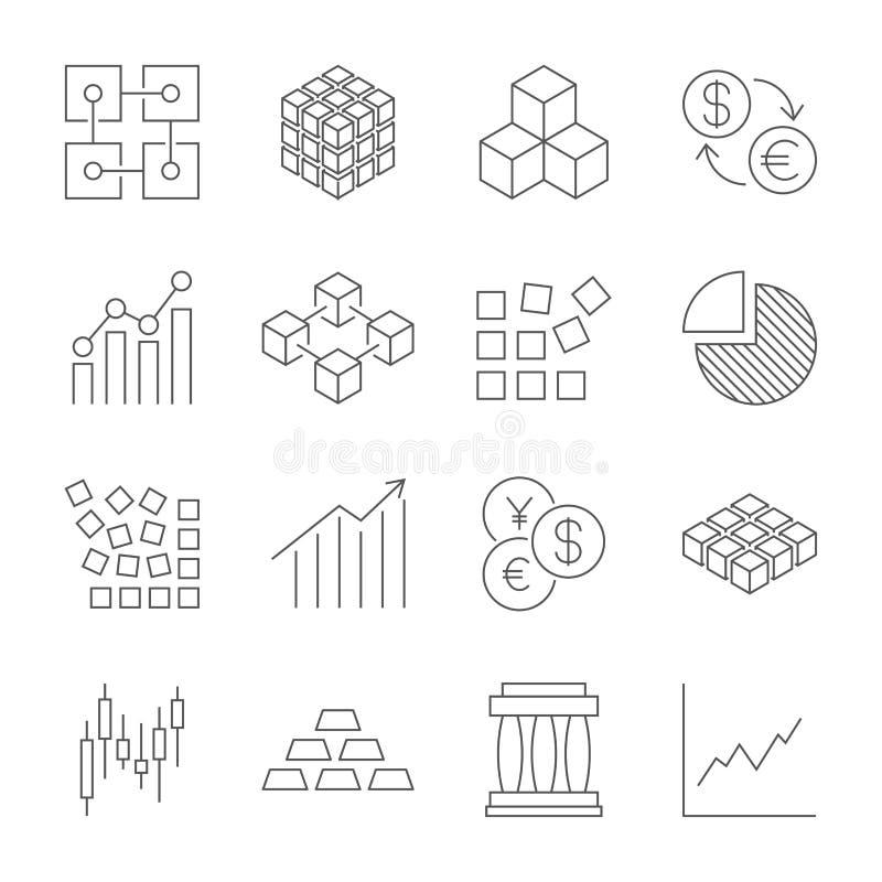 Εικονίδια εμπορικών συναλλαγών αγοράς καθορισμένα Διανυσματικά εικονίδια γραμμών Περιέχει τα εικονίδια όπως το χρηματιστήριο, εμπ διανυσματική απεικόνιση