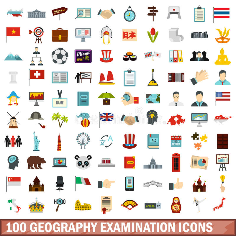 100 εικονίδια εξέτασης γεωγραφίας καθορισμένα, επίπεδο ύφος διανυσματική απεικόνιση