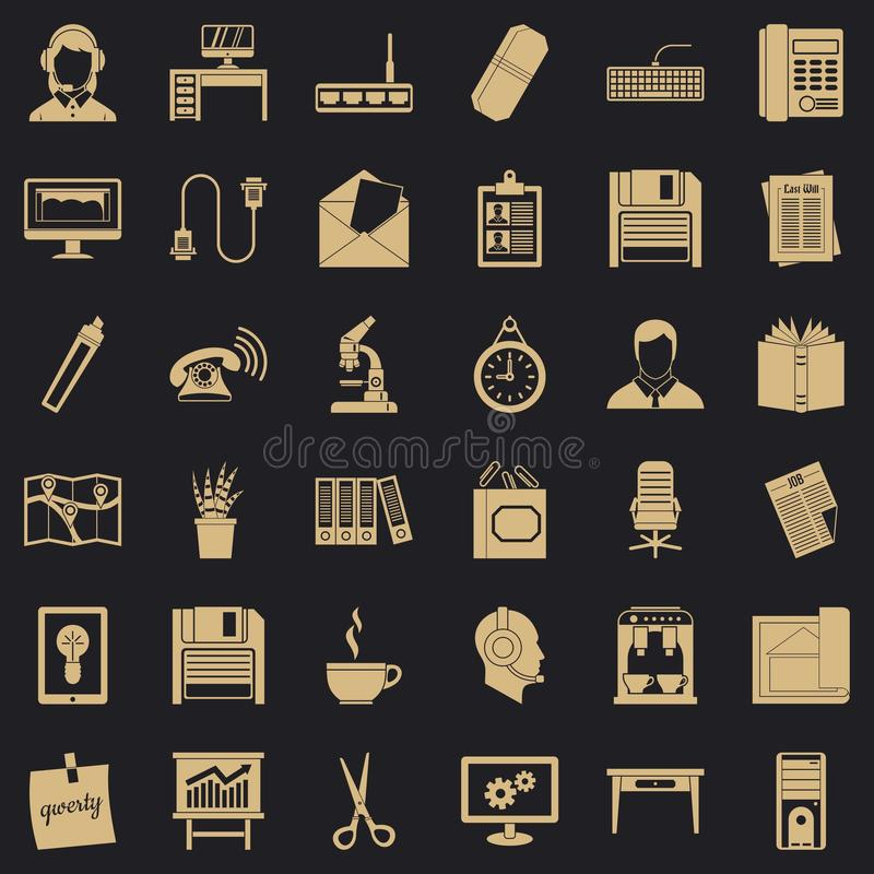 Εικονίδια εξοπλισμού γραφείων καθορισμένα, απλό ύφος ελεύθερη απεικόνιση δικαιώματος