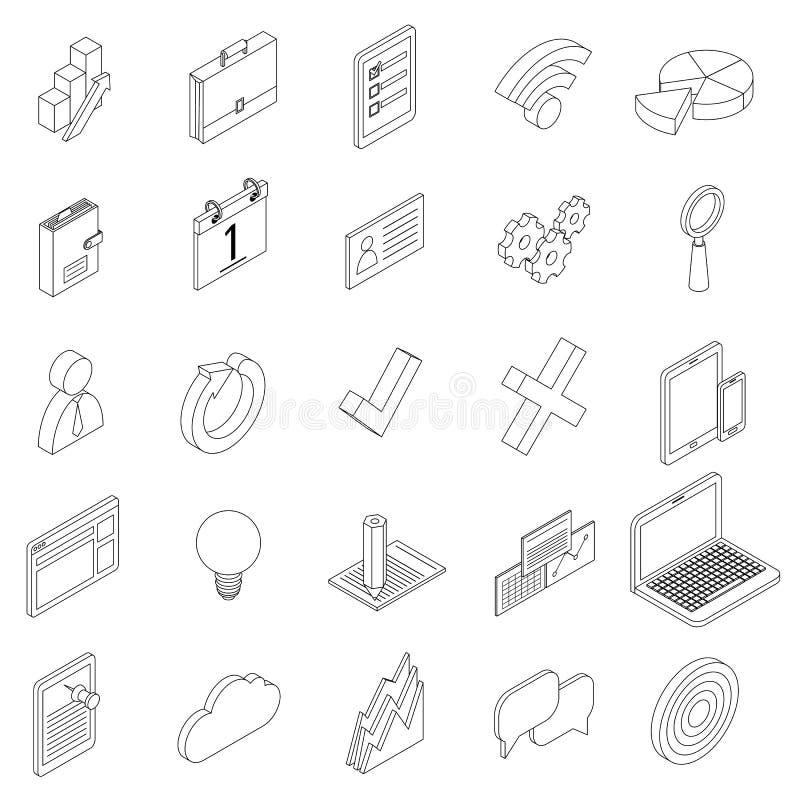 Εικονίδια εξοπλισμού γραφείων καθορισμένα, isometric τρισδιάστατο ύφος ελεύθερη απεικόνιση δικαιώματος