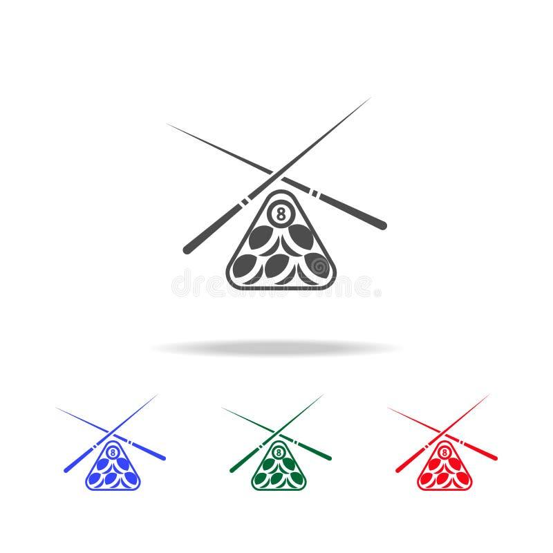 Εικονίδια εξοπλισμού παιχνιδιών λιμνών μπιλιάρδου Στοιχεία του αθλητικού στοιχείου στα πολυ χρωματισμένα εικονίδια Γραφικό εικονί ελεύθερη απεικόνιση δικαιώματος