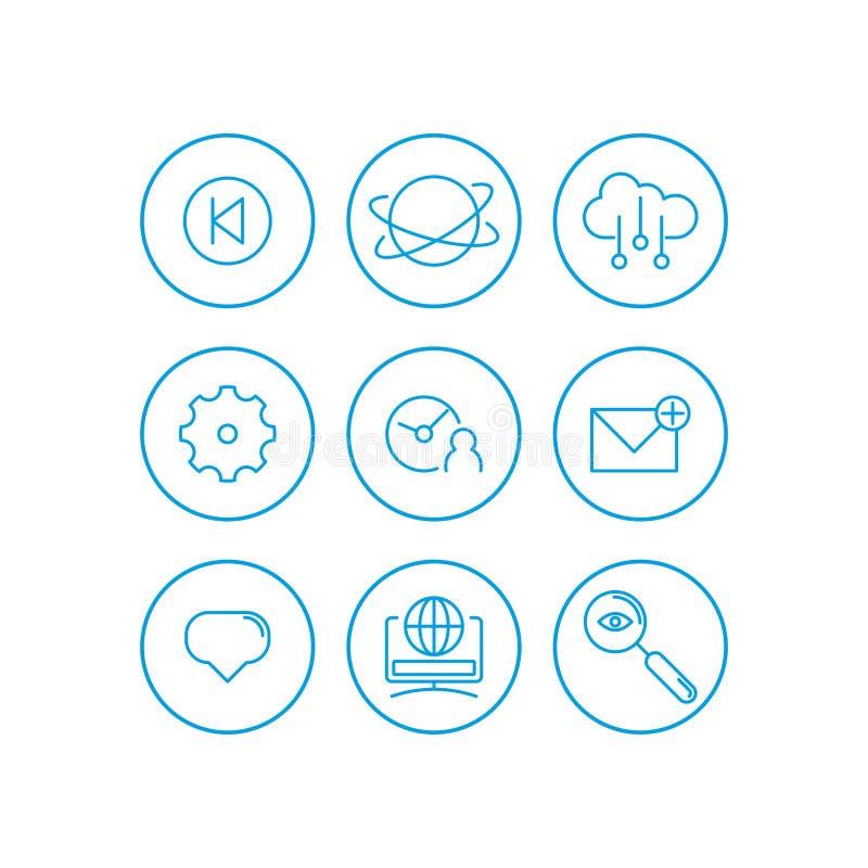 Εικονίδια επικοινωνίας καθορισμένα Βασικά UI στοιχεία επικοινωνίας καθορισμένα σύννεφο, ρολόι, εργαλείο, ταχυδρομείο, εικόνα, Ιστ απεικόνιση αποθεμάτων