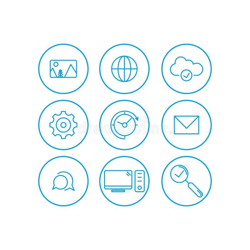 Εικονίδια επικοινωνίας καθορισμένα Βασικά UI στοιχεία επικοινωνίας καθορισμένα σύννεφο, ρολόι, εργαλείο, ταχυδρομείο, εικόνα, Ιστ διανυσματική απεικόνιση