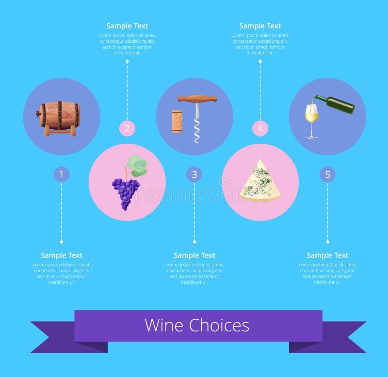 Εικονίδια επιλογών κρασιού και διανυσματική απεικόνιση κορδελλών διανυσματική απεικόνιση