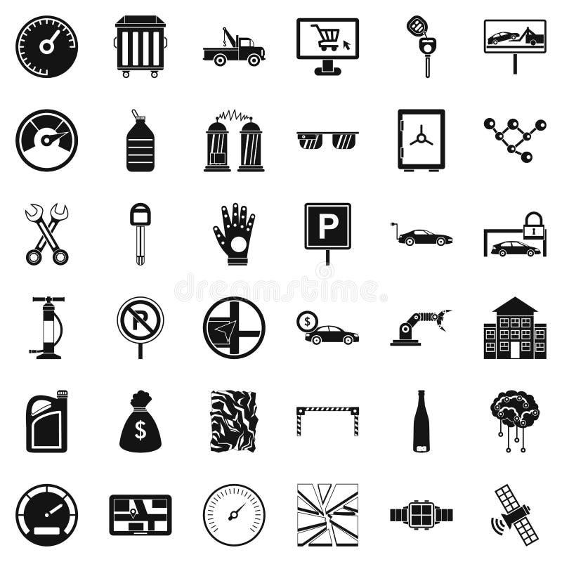 Εικονίδια επισκευής αυτοκινήτων επισκευής καθορισμένα, απλό ύφος απεικόνιση αποθεμάτων
