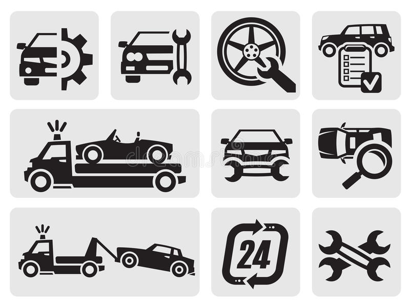 Εικονίδια επισκευής αυτοκινήτων απεικόνιση αποθεμάτων