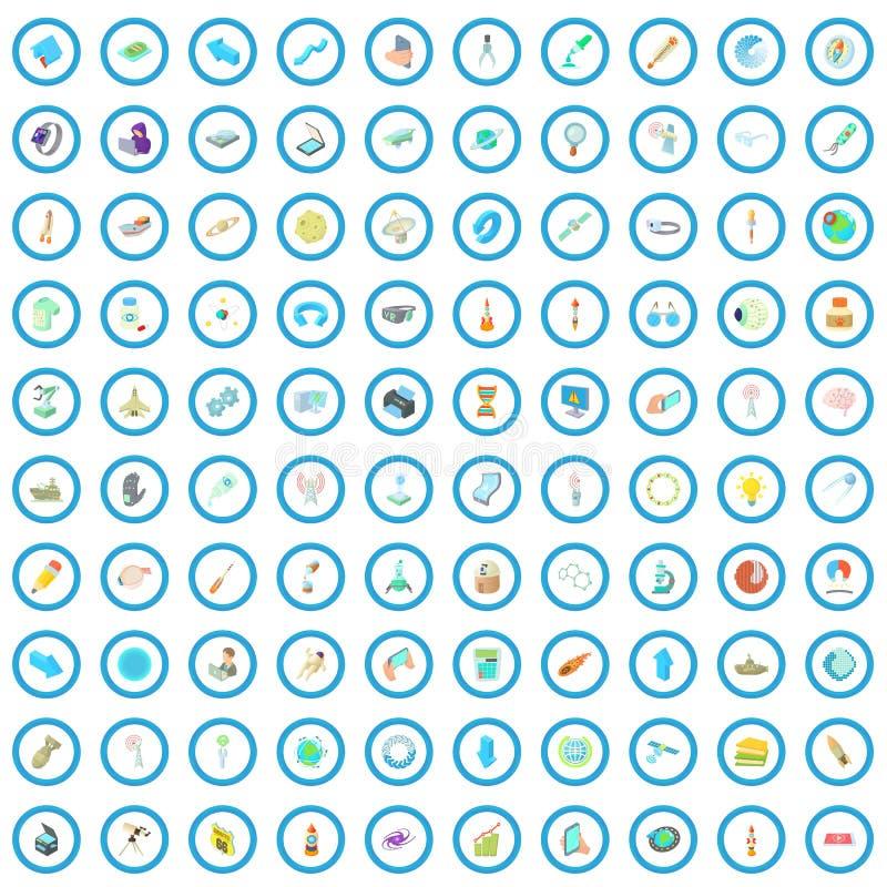 100 εικονίδια επιστήμης καθορισμένα, ύφος κινούμενων σχεδίων ελεύθερη απεικόνιση δικαιώματος
