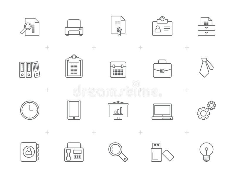 Εικονίδια επιχειρήσεων και γραφείων γραμμών ελεύθερη απεικόνιση δικαιώματος