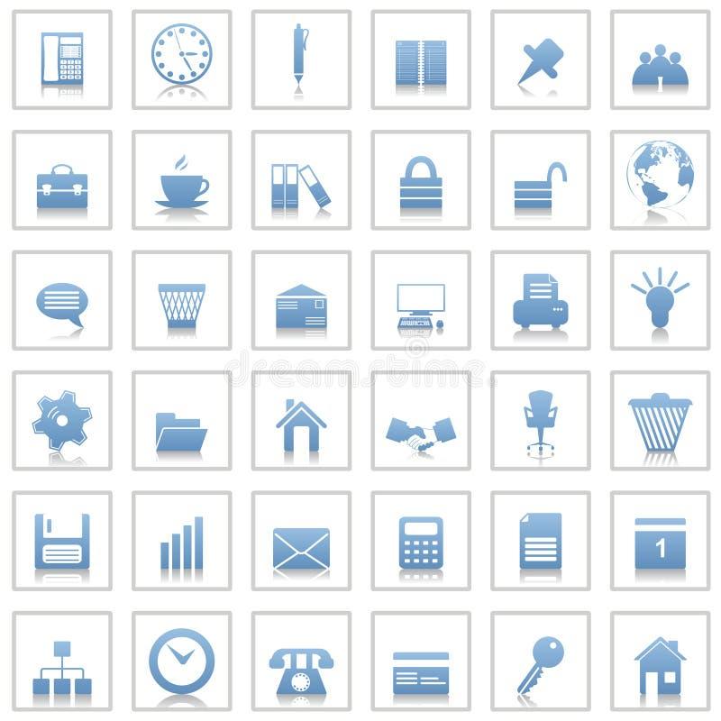 Εικονίδια επιχειρήσεων και γραφείων που τίθενται ελεύθερη απεικόνιση δικαιώματος