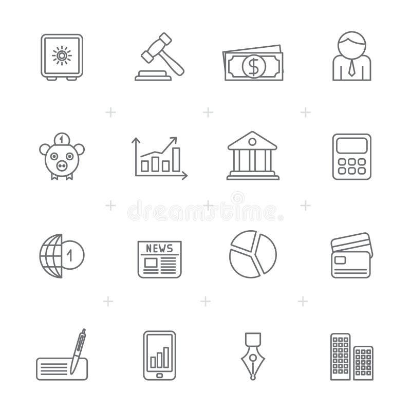 Εικονίδια επιχειρήσεων, τραπεζικών εργασιών και χρηματοδότησης γραμμών διανυσματική απεικόνιση