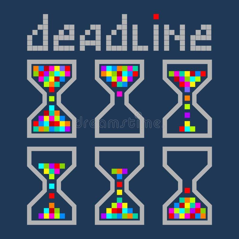 Εικονίδια επιχειρησιακού φωτεινά χρώματος χρονικής διαχείρισης κλεψυδρών καθορισμένα Deadl διανυσματική απεικόνιση