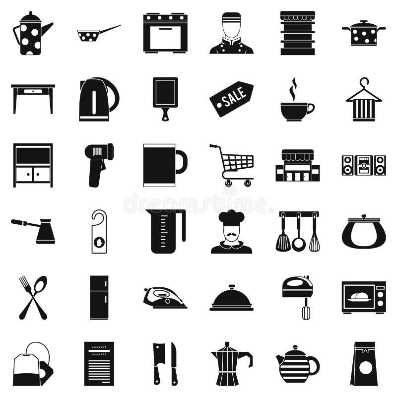 Εικονίδια εργαλείων εστιατορίων καθορισμένα, απλό ύφος διανυσματική απεικόνιση